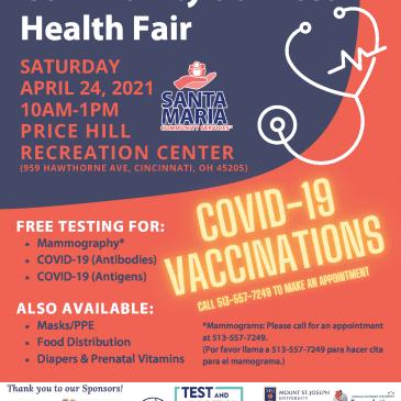 Health Fair – April 24, 2021, 10 a.m. to 1 p.m.